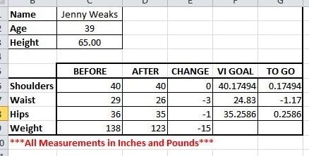 Jenny's metrics for the 12 week contest