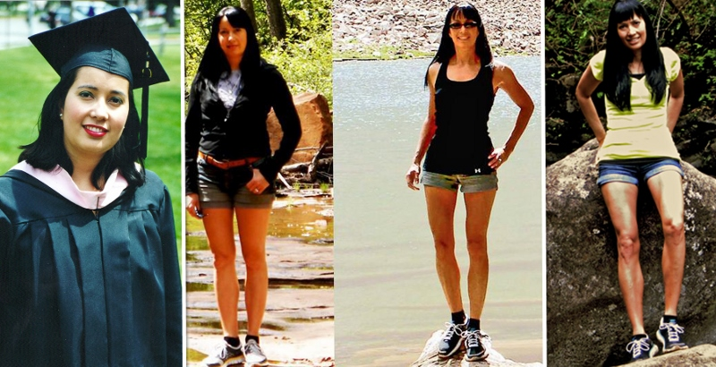 Carla from left to right; 155 pounds, 128 pounds, 111 pounds, and 118 pounds.