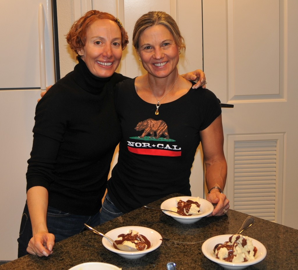 Kimberley and I enjoy our homemade ice cream sundaes.