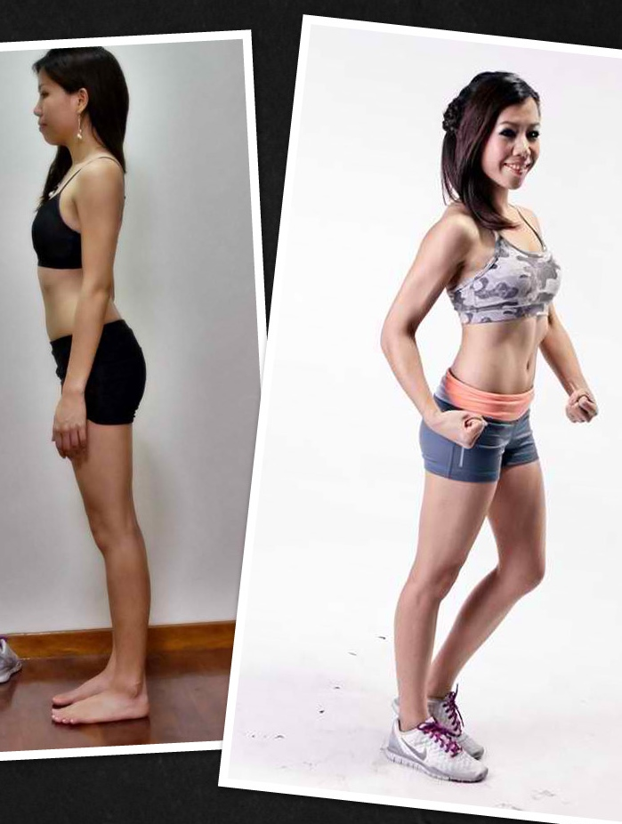 "Aima weighed 100 pounds before and after, but she cleanly lost fat and gained muscle - this is what we call ""recomp"" and it requires hard work and patience."