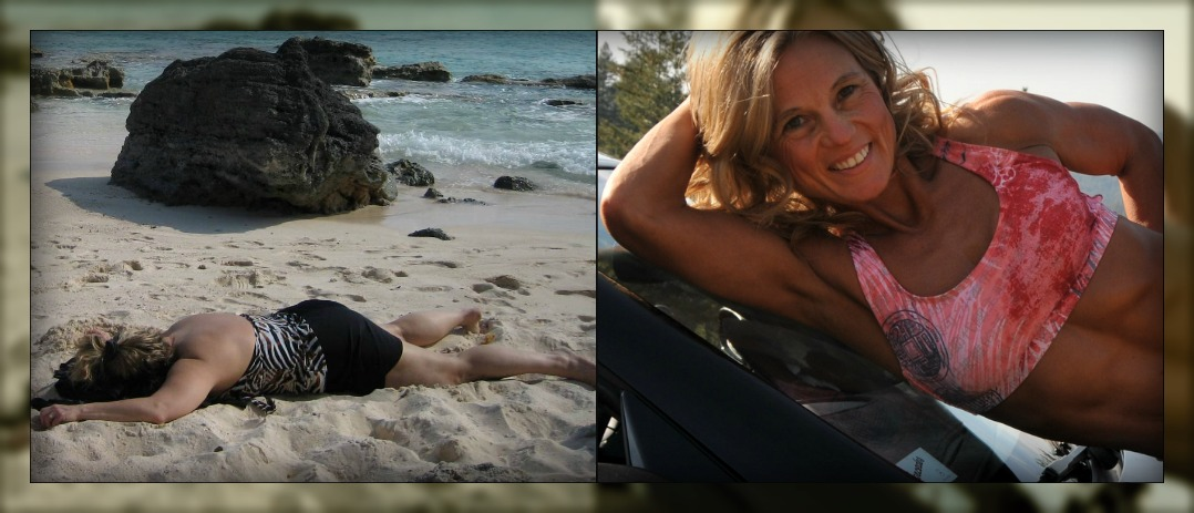 Roberta at over 171 pounds on the beach and at the end of her transformation at 114 pounds.