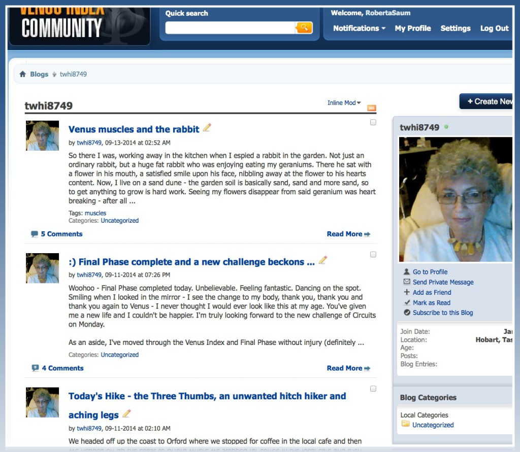Sue is very active on the community blog.