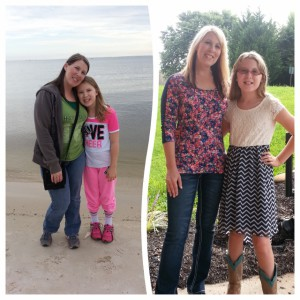 Tabitha and her daughter before and after