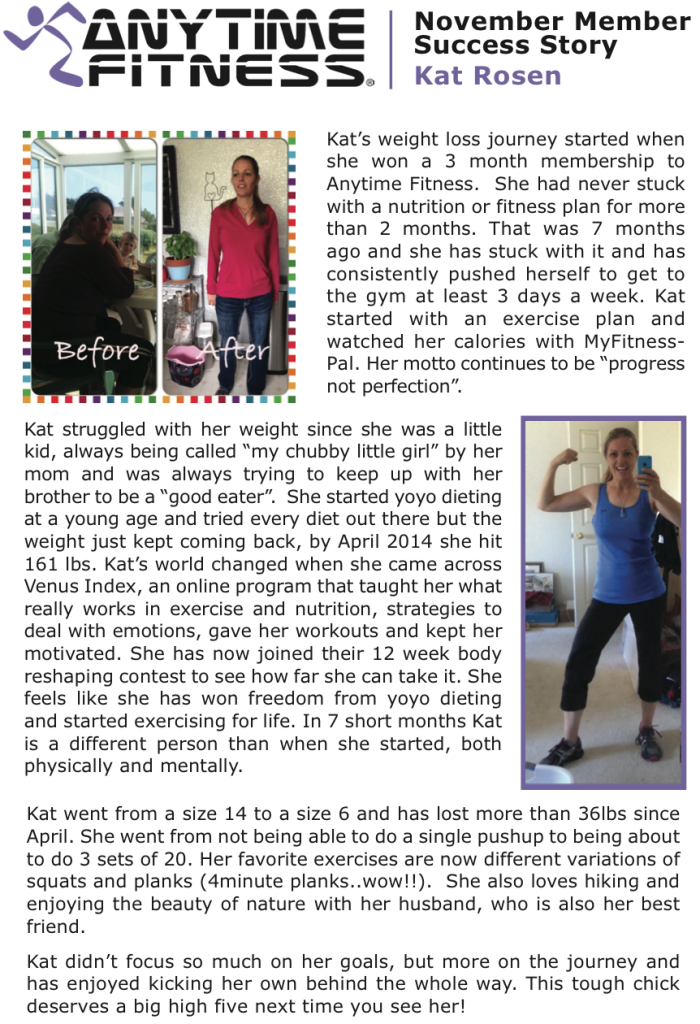 Kat Anytime Fitness success story