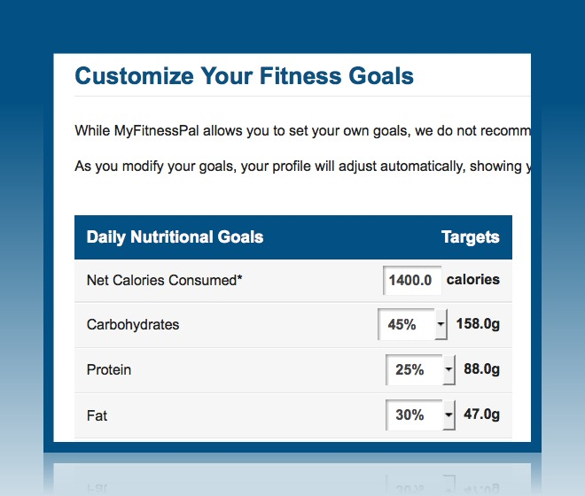 "To set your macro percentages in In the MyFitnessPal menu; go into your Home menu, then Goals, then the green ""Change Goals"" button, then select ""custom"", then Continue."