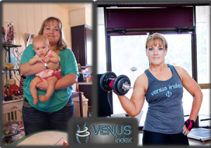Julie at one of her heaviest weights before finding Venus and after, WOW!